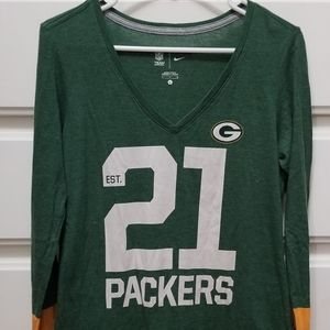 Nike Green bay packers long sleeve jersey top